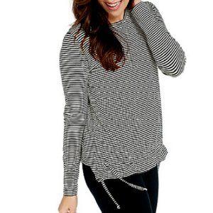M AnyBody Cozy Knit Striped Top Shirt Drawcord Hem